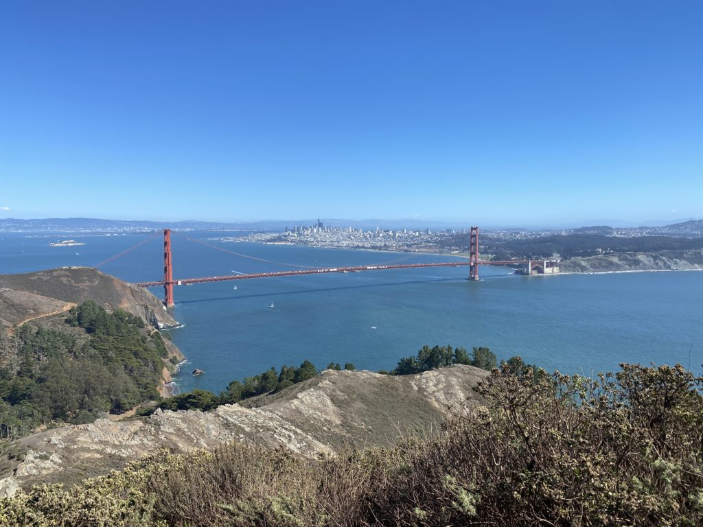 Aerial view of the Golden Gate Bridge area | Spark Experiences private tours in the Bay Area