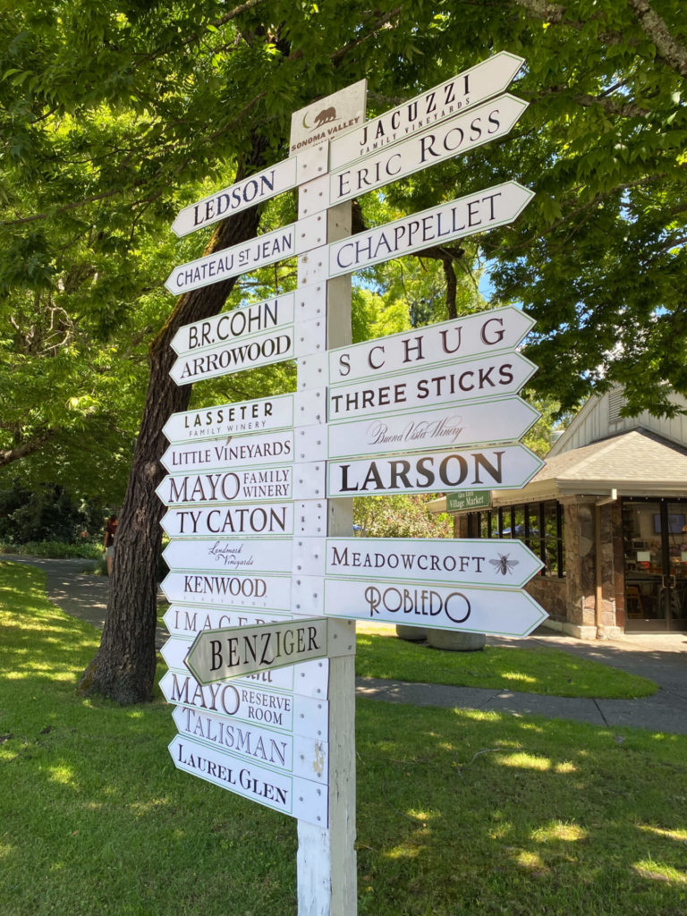 Sign post in California Wine Country showing in which direction the many wineries are located